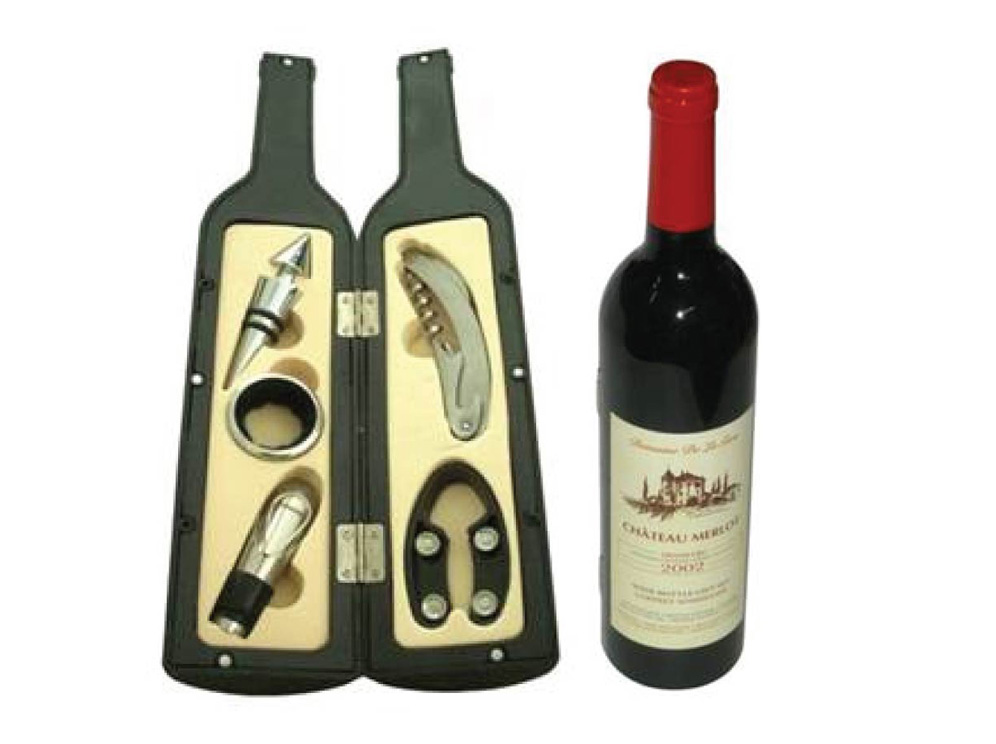 סט אביזרי יין במארז  בקבוק