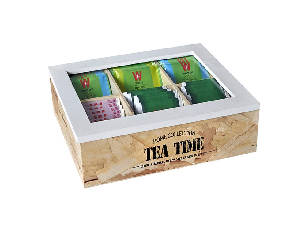 תיבת תה עץ טבעי 6 תאים