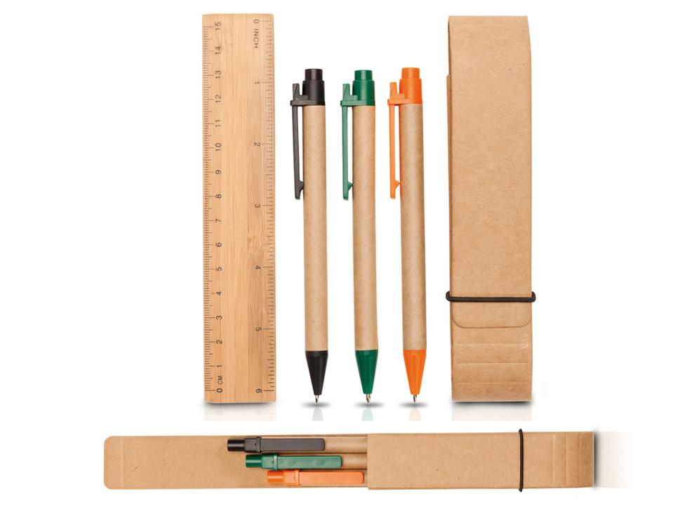 סט עטים וסרגל ממוחזר