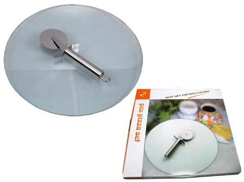 מגש זכוכית לפיצה +סכין