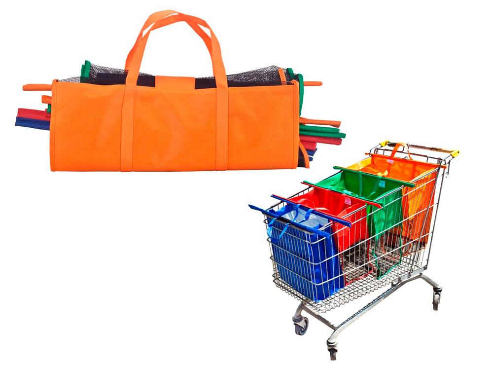 סט 4 תיקי קניות לעגלה