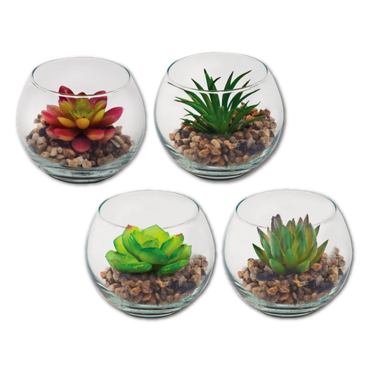 צמח   עציץ  מלאכותי בכלי זכוכית